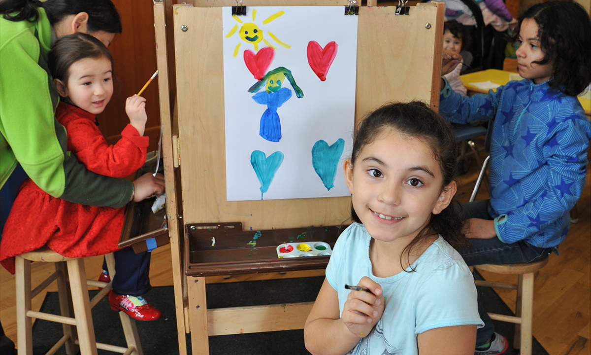 Painting on easels in the Art Studio