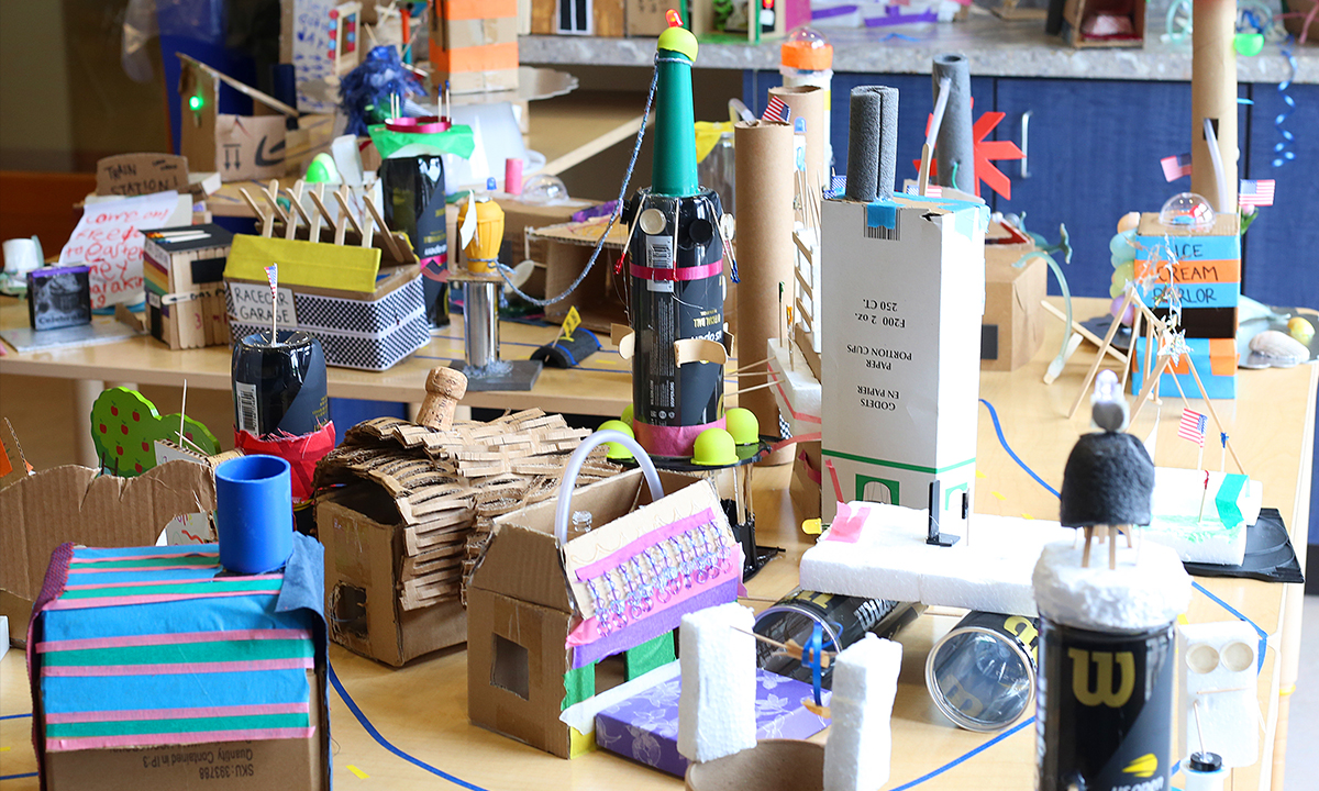 Collaborative cardboard city in the MakeSpace