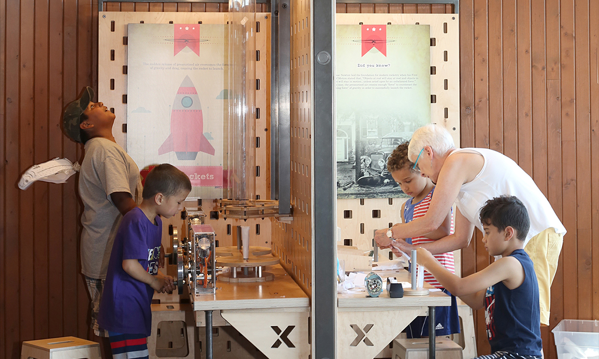 Building and launching rockets in the Move It gallery