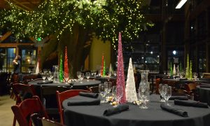 Holiday table set up in the Museum lobby